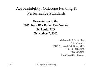 Accountability: Outcome Funding & Performance Standards