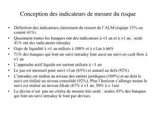 Conception des indicateurs de mesure du risque