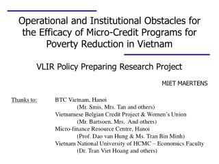 VLIR Policy Preparing Research Project