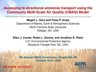 Assessing bi-directional ammonia transport using the Community Multi-Scale Air Quality CMAQ Model
