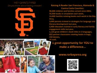 HEY GIANTS FANS! Do you know about Raising a reader?
