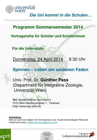 Programm Sommersemester 2014 Vortragsreihe für Schüler und Schülerinnen