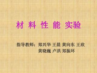 指导教师:郑兴华 王晨 黄向东 王欣  黄晓巍 卢洪 郑振环