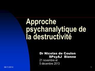 Approche psychanalytique de la destructivité