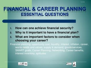 How can one achieve financial security? Why is it important to have a financial plan?