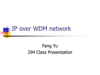 IP over WDM network