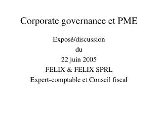 Corporate governance et PME