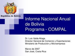 Informe Nacional Anual de Bolivia Programa - COMPAL