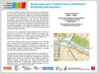 Quelle place pour l'habitat dans la planification  territoriale post-Grenelle ?