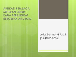 A plikasi Pembaca Meteran Listrik  pada perangkat bergerak  Android