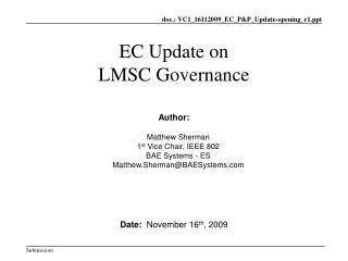 EC Update on LMSC Governance