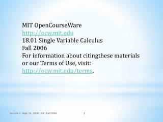 MIT  OpenCourseWare ocw.mit 18.01 Single Variable Calculus Fall 2006