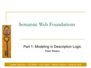 Semantic Web Foundations