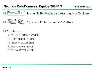 Réunion GafoDonnées: Equipe SIG/IRIT 24/25 janvier 2002