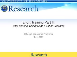 Effort Training Part III Cost-Sharing, Salary Caps & Other Concerns
