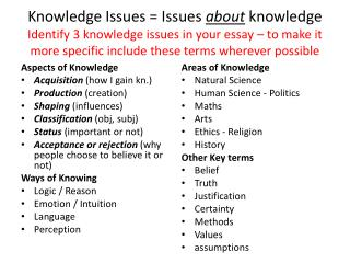 Aspects of Knowledge Acquisition  (how I gain kn.) Production  (creation) Shaping  (influences)