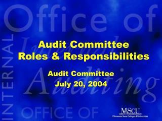 Audit Committee Roles  Responsibilities