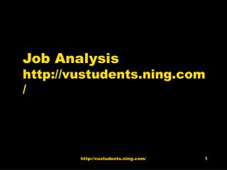 Job Analysis vustudents.ning/