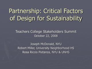 Partnership: Critical Factors of Design for Sustainability