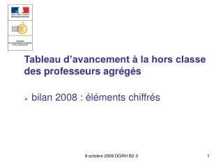 Tableau d�avancement � la hors classe  des professeurs agr�g�s bilan 2008 : �l�ments chiffr�s