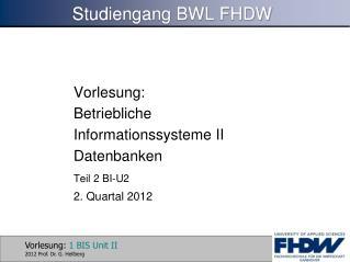 Studiengang BWL FHDW