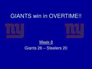 GIANTS win in OVERTIME!!