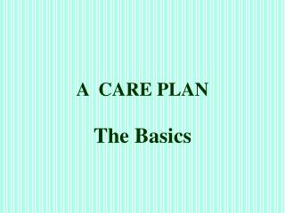 A  CARE PLAN