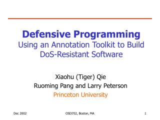 Defensive Programming Using an Annotation Toolkit to Build DoS-Resistant Software