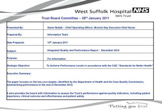 Trust Board Committee – 28 th  January 2011