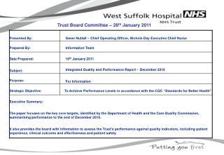 Trust Board Committee � 28 th  January 2011