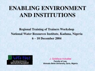 ENABLING ENVIRONMENT AND INSTITUTIONS
