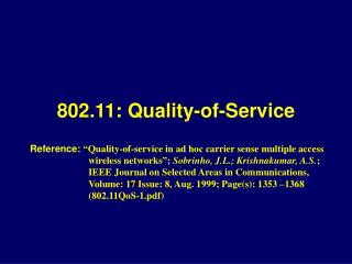 802.11: Quality-of-Service