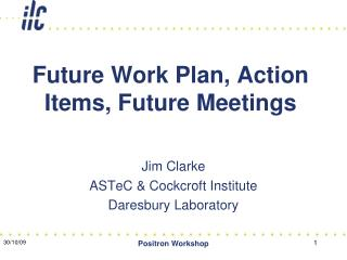 Future Work Plan, Action Items, Future Meetings