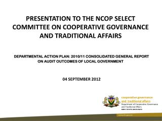 cooperative governance  and  traditional affairs