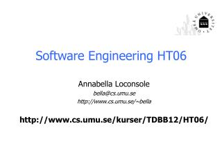 Software Engineering  HT06