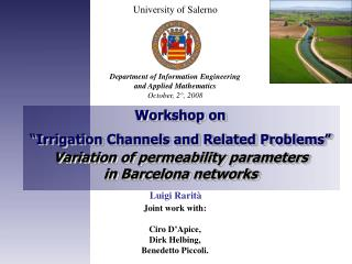 """Workshop on  """"Irrigation Channels and Related Problems"""" Variation of permeability parameters"""