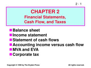 Balance sheet Income statement Statement of cash flows Accounting income versus cash flow