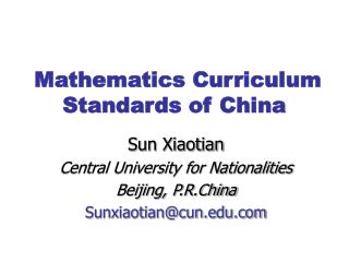 Mathematics Curriculum Standards of China