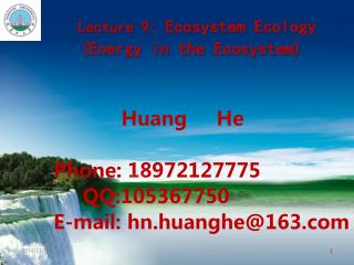 Lecture 9:  Ecosystem Ecology (Energy in the Ecosystem)