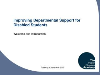Improving Departmental Support for Disabled Students