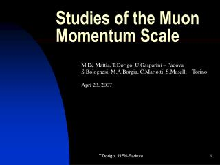 Studies of the Muon Momentum Scale
