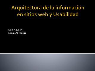 Arquitectura de la información en sitios web y Usabilidad