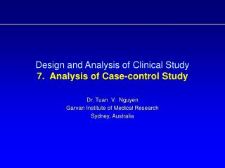 Design and Analysis of Clinical Study  7.  Analysis of Case-control Study