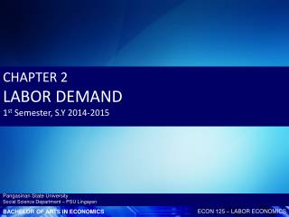 CHAPTER  2 LABOR DEMAND 1 st Semester, S.Y 2014-2015