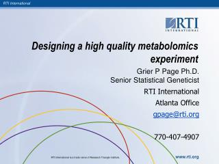 Designing a high quality metabolomics experiment