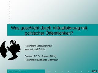 Was geschieht durch Virtualisierung mit politischer Öffentlichkeit?