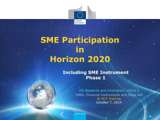 SME Participation  in  Horizon 2020