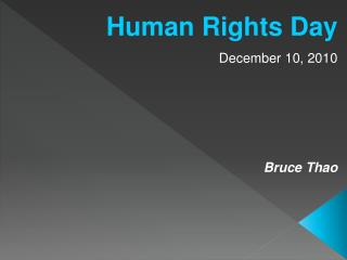 Human Rights Day December 10, 2010 Bruce Thao