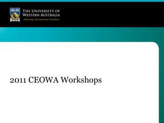 2011 CEOWA Workshops