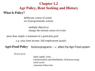 Chapter 1,2  Agr Policy, Rent Seeking and History